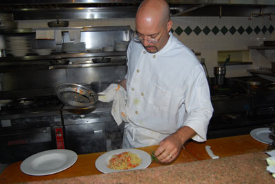 Fedele cooking at Trattoria Pina Italian Restaurant